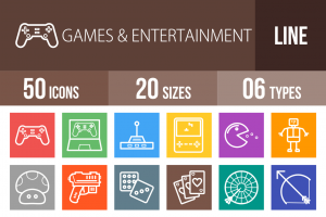 50 Games & Entertainment Line Multicolor B/G Icons - Overview - IconBunny