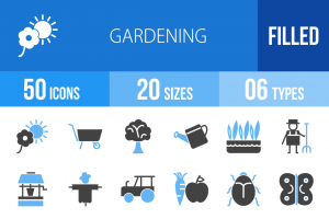 50 Gardening Blue & Black Icons - Overview - IconBunny