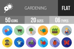 50 Gardening Flat Shadowed Icons - Overview - IconBunny