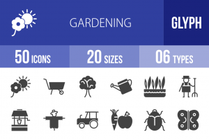 50 Gardening Glyph Icons - Overview - IconBunny