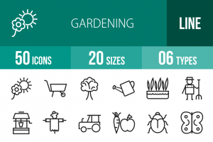 50 Gardening Line Icons - Overview - IconBunny
