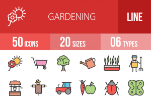 50 Gardening Line Multicolor Filled Icons - Overview - IconBunny