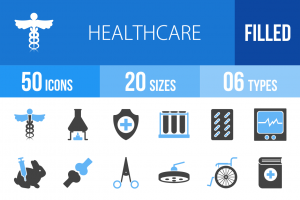 50 Healthcare Blue & Black Icons - Overview - IconBunny