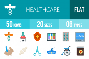 50 Healthcare Flat Multicolor Icons - Overview - IconBunny