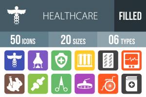 50 Healthcare Flat Round Corner Icons - Overview - IconBunny