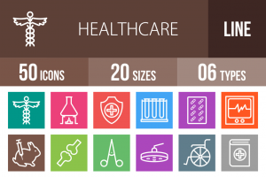 50 Healthcare Line Multicolor B/G Icons - Overview - IconBunny