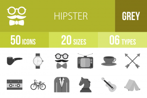50 Hipster Greyscale Icons - Overview - IconBunny