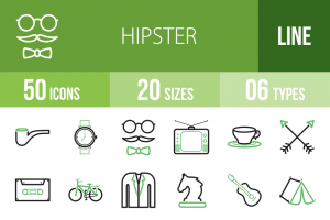 50 Hipster Line Green Black Icons - Overview - IconBunny