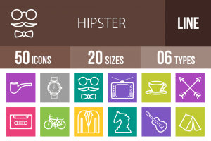 50 Hipster Line Multicolor B/G Icons - Overview - IconBunny