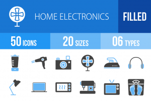 50 Home Electronics Blue & Black Icons - Overview - IconBunny