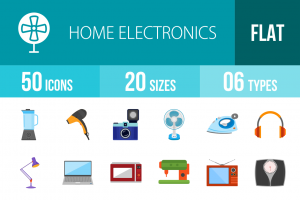 50 Home Electronics Flat Multicolor Icons - Overview - IconBunny