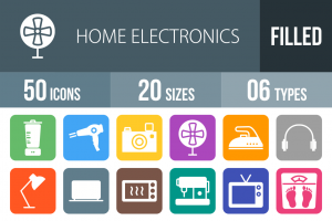 50 Home Electronics Flat Round Corner Icons - Overview - IconBunny