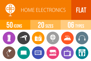 50 Home Electronics Flat Round Icons - Overview - IconBunny