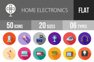 50 Home Electronics Flat Shadowed Icons - Overview - IconBunny