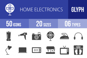 50 Home Electronics Glyph Icons - Overview - IconBunny