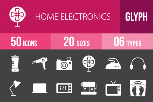 50 Home Electronics Glyph Inverted Icons - Overview - IconBunny
