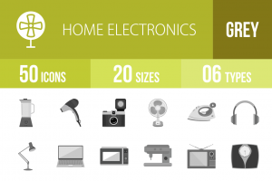 50 Home Electronics Greyscale Icons - Overview - IconBunny