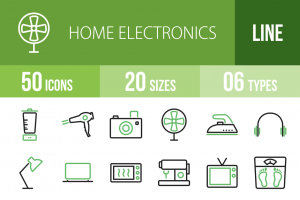 50 Home Electronics Line Green & Black Icons - Overview - IconBunny