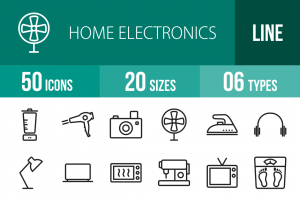 50 Home Electronics Line Icons - Overview - IconBunny