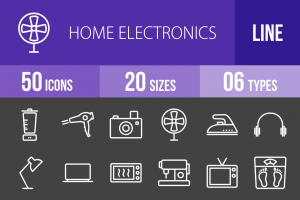 50 Home Electronics Line Inverted Icons - Overview - IconBunny