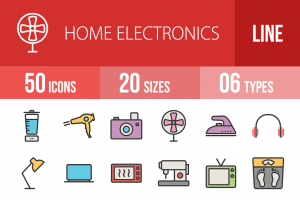 50 Home Electronics Line Multicolor Filled Icons - Overview - IconBunny