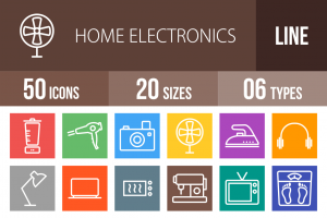 50 Home Electronics Line Multicolor B/G Icons - Overview - IconBunny