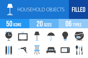 50 Household Objects Blue & Black Icons - Overview - IconBunny
