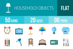 50 Household Objects Flat Multicolor Icons - Overview - IconBunny