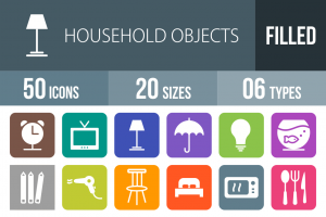 50 Household Objects Flat Round Corner Icons - Overview - IconBunny