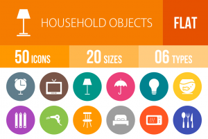 50 Household Objects Flat Round Icons - Overview - IconBunny