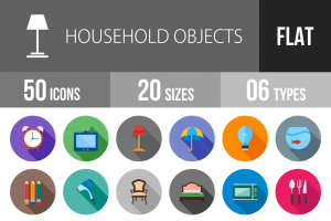 50 Household Objects Flat Shadowed Icons - Overview - IconBunny