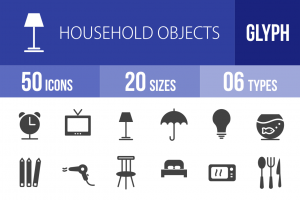 50 Household Objects Glyph Icons - Overview - IconBunny