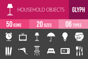 50 Household Objects Glyph Inverted Icons - Overview - IconBunny