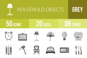 50 Household Objects Greyscale Icons - Overview - IconBunny