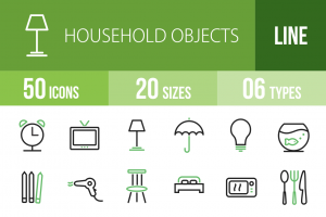 50 Household Objects Line Green & Black Icons - Overview - IconBunny