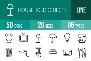 50 Household Objects Line Icons - Overview - IconBunny