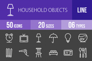 50 Household Objects Line Inverted Icons - Overview - IconBunny
