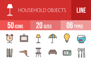 50 Household Objects Line Multicolor Filled Icons - Overview - IconBunny