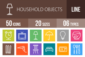 50 Household Objects Line Multicolor B/G Icons - Overview - IconBunny