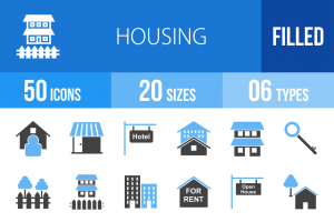 50 Housing Blue & Black Icons - Overview - IconBunny