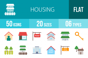 50 Housing Flat Multicolor Icons - Overview - IconBunny