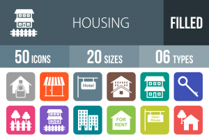 50 Housing Flat Round Corner Icons - Overview - IconBunny