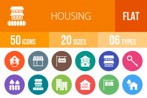 50 Housing Flat Round Icons - Overview - IconBunny
