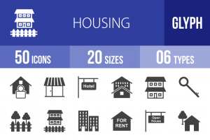 50 Housing Glyph Icons - Overview - IconBunny