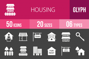 50 Housing Glyph Inverted Icons - Overview - IconBunny