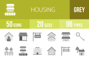 50 Housing Greyscale Icons - Overview - IconBunny