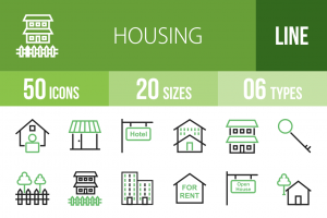 50 Housing Line Green & Black Icons - Overview - IconBunny