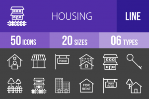 50 Housing Line Inverted Icons - Overview - IconBunny