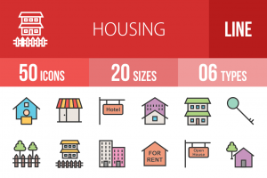 50 Housing Line Multicolor Filled Icons - Overview - IconBunny