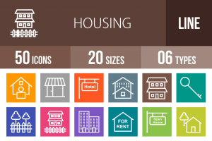50 Housing Line Multicolor B/G Icons - Overview - IconBunny